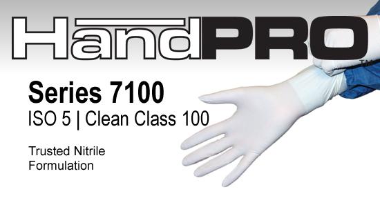 Series 7100 Class 100 Gloves, Nitrile, HandPRO, White, 100 Gloves/Bag
