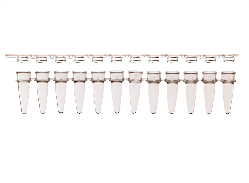 12-Strip PCR Tubes Supplied with Optically Clear Flat Cap Strips