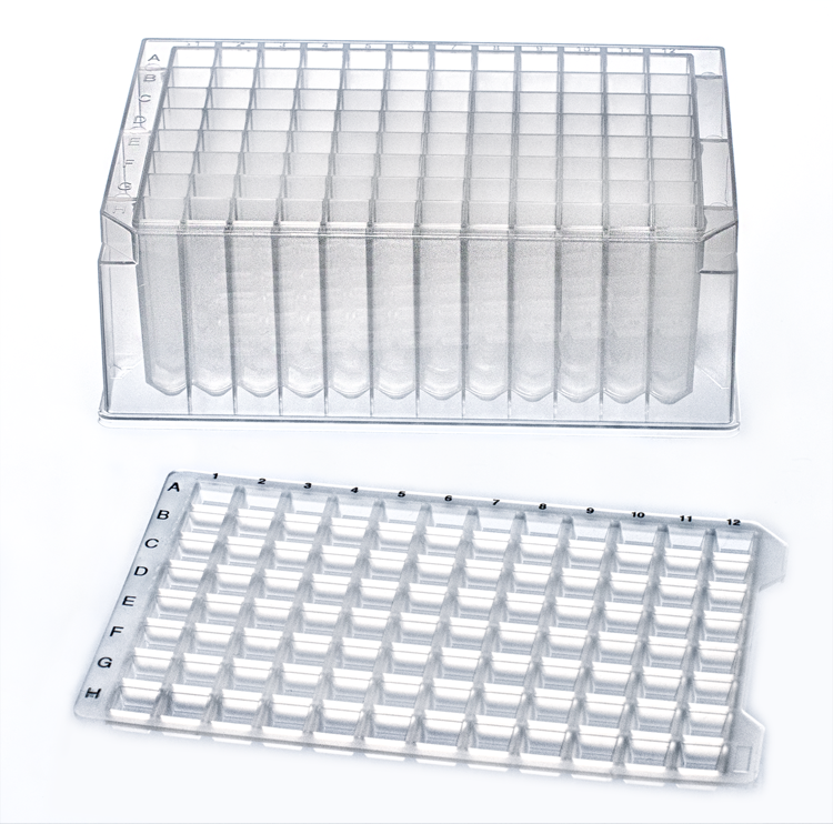 1.1mL 96-W Deep Well Plate, Square, V-Bottom, 10/Case