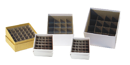"White 2"" Mini Cardboard Box with Drain Slots and 25 cell divider"