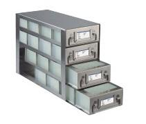 Upright Freezer Drawer Racks for 96 Deep-Well Microtiter Plates and Micronic LOBO Racks (Capacity: 16 Plates)