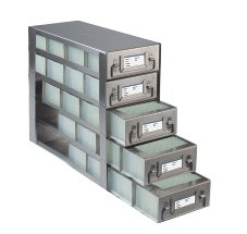 Upright Freezer Drawer Racks for 96 Deep-Well Microtiter Plates and Micronic LOBO Racks (Capacity: 20 Plates)