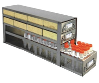 """Upright Freezer Drawer Rack for 2"""" Cardboard Boxes and 50mL Centrifuge Tubes (Capacity: 8 Boxes; 39 Tubes)"""