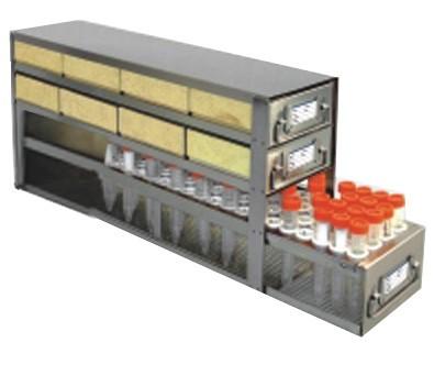 "Upright Freezer Drawer Rack for 2"" Cardboard Boxes and Storage Bottles (Capacity: 8 Boxes; 1 Drawer for Storage Bottles)"