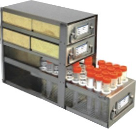 "Upright Freezer Drawer Rack for 2"" Cardboard Boxes and 50mL Centrifuge Tubes (Capacity: 4 Boxes; 18 Tubes)"