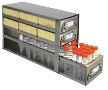 "Upright Freezer Drawer Rack for 2"" Cardboard Boxes and Storage Bottles (Capacity: 6 Boxes; 1 Drawer for Storage Bottles)"