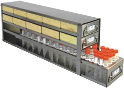 "Upright Freezer Drawer Rack for 2"" Cardboard Boxes and 15mL Centrifuge Tubes (Capacity: 10 Boxes; 100 Tubes)"
