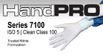 Series 7100 Class 100 Gloves, Nitrile, HandPRO, White, 100 Gloves/Bag