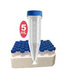 Five-O 5mL Centrifuge Tube, sterile, w/ attached screw caps in foam racks, 200/pack