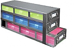 Upright Metal Freezer Drawer Rack for 100-Cell Hinged Boxes (Capacity: 9 Boxes)