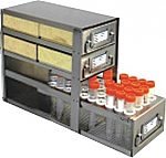 "Upright Freezer Drawer Rack for 2"" Cardboard Boxes and Storage Bottles (Capacity: 4 Boxes; 1 Drawer for Storage Bottles)"